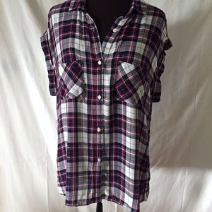 Rails Britt Sleeveless Plaid Shirt M